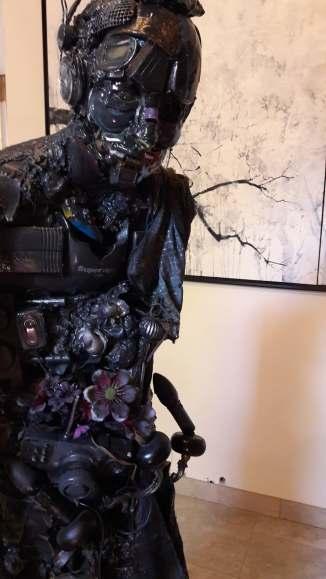 SLAVE, Mixed-media assembly, acrylic, resin, cm 46x52x178, 2016,